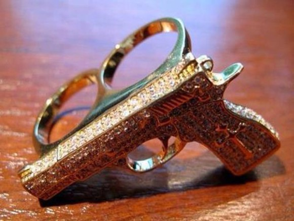 gold gun jewels ring double ring rinestones bague gold gun two finger ring