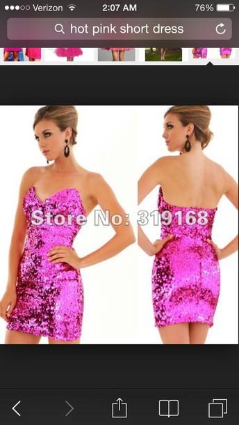 dress pink short pink prom dress short hot pink dress short pink dress pink dress sequins sequin dress