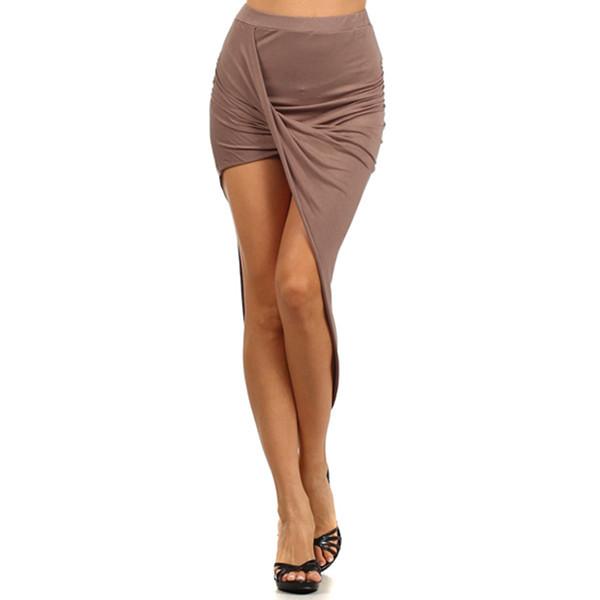 Mocha asymmetrical drape skirt