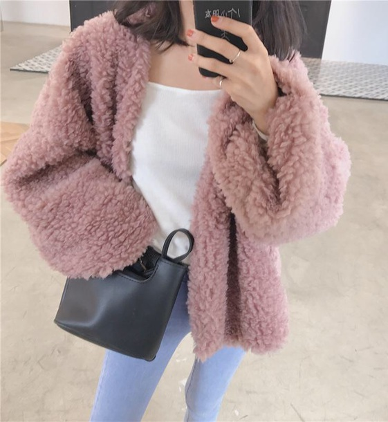 coat girly pink tumblr fur fur coat fur jacket comfy