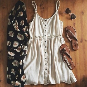 dress daisy summer cute cardigan heart sunglasses sandals shoes
