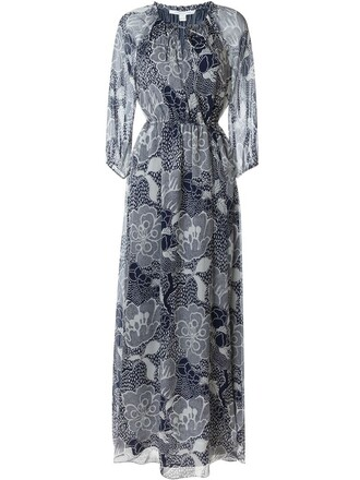 gown print blue dress