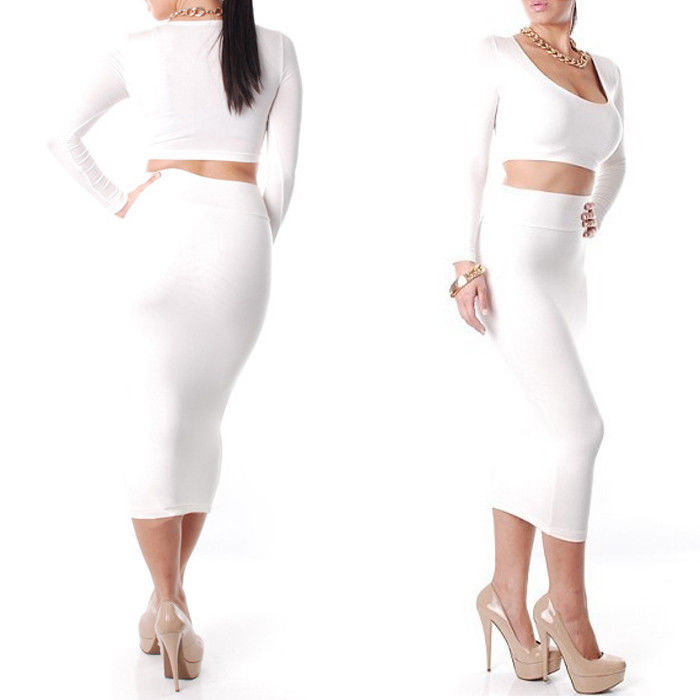 2pcs Set Sexy Cropped Top High Waist Pencil MIDI Skirt Bodycon Slim Party Dress | eBay