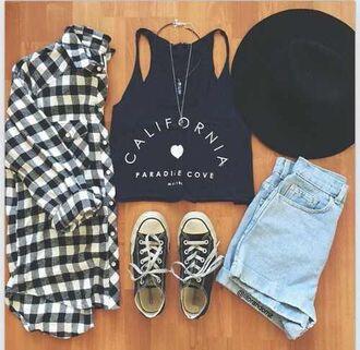 shirt brand tumblr cute cali california hot summer black white flannel shorts brandy melville t-shirt white t-shirt aztec style necklace