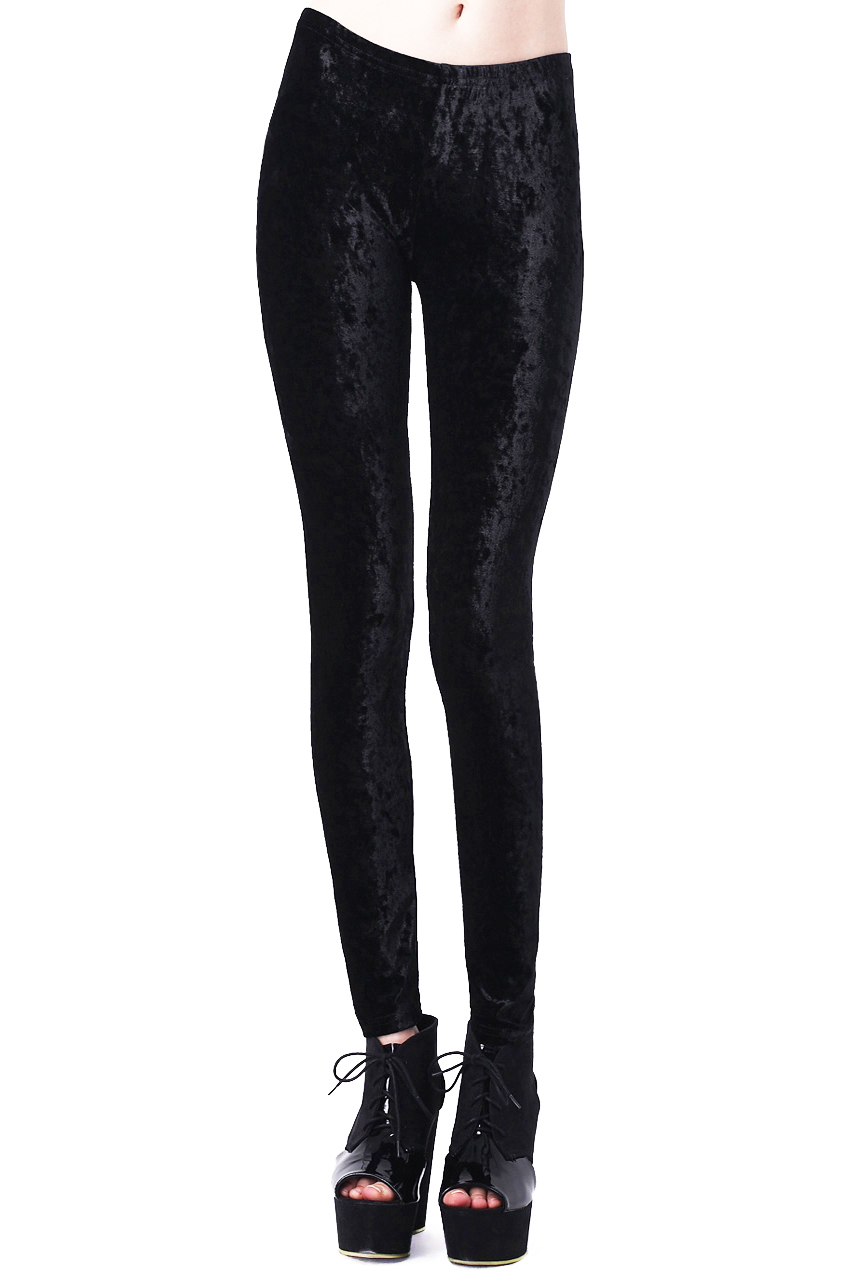 ROMWE | ROMWE Classic Gold Soft Velvet Solid Black Leggings, The Latest Street Fashion