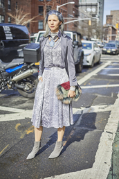 bag,nyfw 2017,fashion week 2017,fashion week,streetstyle,furry bag,skirt,midi skirt,grey skirt,shirt,grey shirt,all grey everything,All grey outfit,boots,ankle boots,pointed boots,grey boots,blazer,spring outfits,grey blazer,silver hair,monochrome outfit