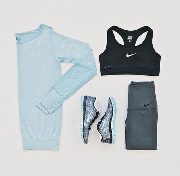 baby blue sportswear blue shirt nike outfit