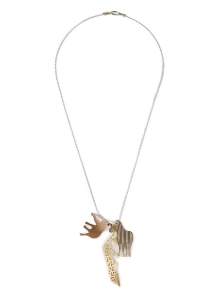 Marc Alary women animal necklace gold grey metallic jewels