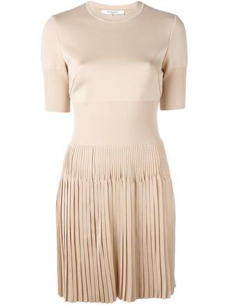 dress short dress pleated short nude