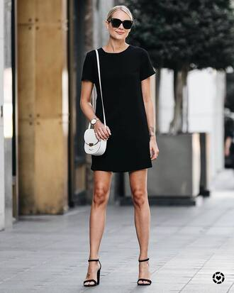 dress tumblr mini dress black mini dress black dress sandals sandal heels high heel sandals summer dress summer outfits bag white bag sunglasses shoes