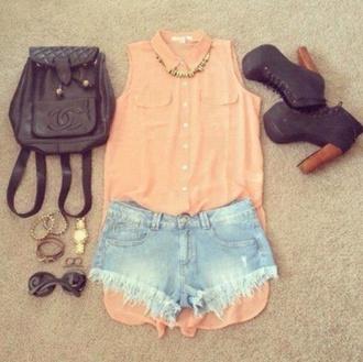 blouse disney chanel coco chanel necklace high heels heels bracelets sunglasses