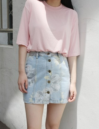 skirt tumblr flowers denim skirt floral pattern short skirt summer skirt hipster artistique spring
