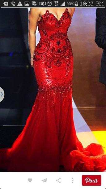 dress red prom dress sequin prom dress