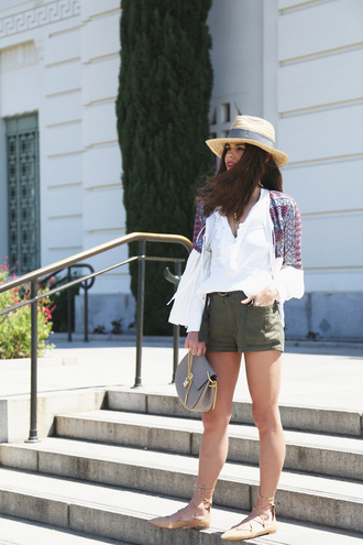 seams for a desire blogger straw hat white top long sleeves khaki mini bag