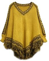 batwing sleeves,cape top,poncho sweater,tassel hem,fringed hem,v neck,poncho,mustard,knitwear
