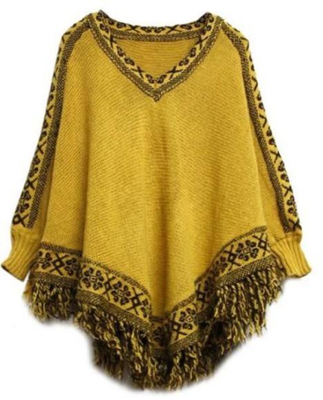 poncho knitwear batwing sleeves cape top tassel hem fringed hem v neck top mustard