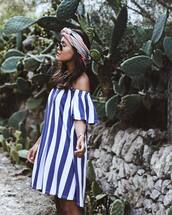 dress,sunglasses,tumblr,mini dress,blue dress,stripes,striped dress,off the shoulder,off the shoulder dress,headband,scarf