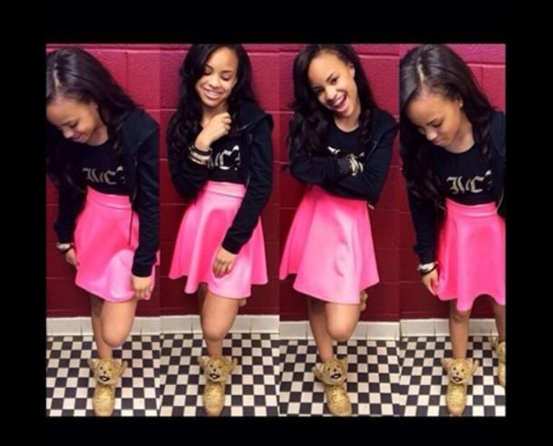 skirt pink pink skirt trill trill dope supreme bomb shoes snapback kush new era