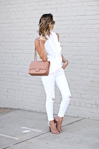 for all things lovely blogger bag top jeans shoes jewels sunglasses make-up