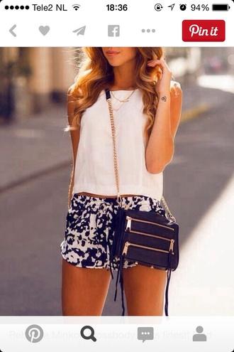 shirt summer outfits t-shirt style shorts white t-shirt cute shorts bag