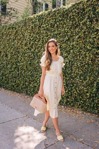 skirt nude skirt midi skirt top nude top shoes bag button up slide shoes handbag spring outfits