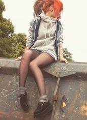 jacket,hoodie,pockets,denim,zip up jacket,zip up hoodie,sweater,zip up,grey,big hoodie,creepers,sheer tights,denim vest,denim shorts,red hair,comfy,layers