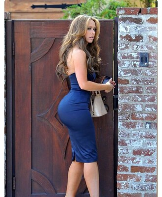 dress jennifer love hewitt blue dress bodycon dress big butt thick as fuck