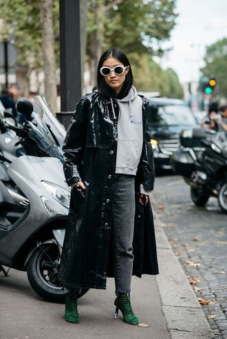 sweater grey seeater long leather coat grey pants green heeled boots blogger sunglasses