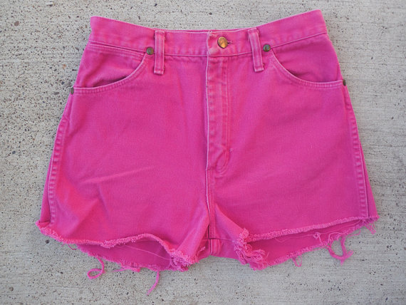Hot Pink High Waisted Shorts by aydeh on Etsy