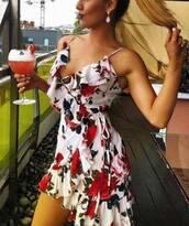 dress,prettylittlething,floral,floral dress,midi dress,wrap dress,white dress,flowers,summer,summer dress