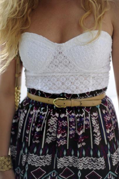 bralette corset top bra white underwear skirt purple skirt black skirt printed skirt bandeau tribal pattern tank top white tank top strapless tank