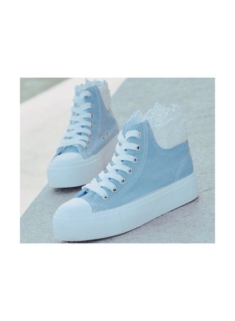 shoes light blue cute cute shoes baby blue blue kawaii lovely lace up lace lace white hightop
