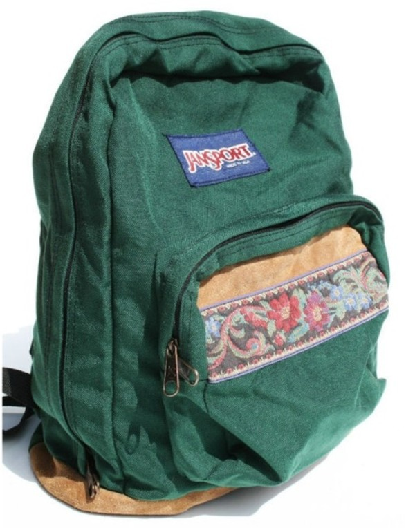 green bag jansport floral backpack