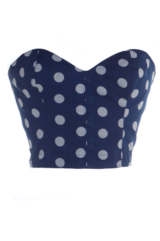 Blue 50s Style Pin-Up Polka Dot Bustier | Style Icon`s Closet