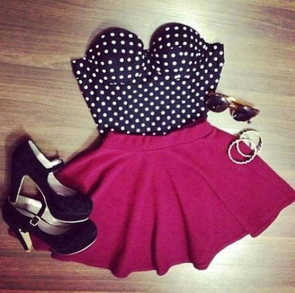 shoes vintage hipster skirt high heels crop tops bustier polka dots