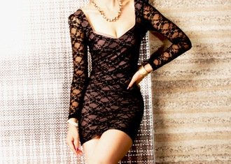 dress lace black dress