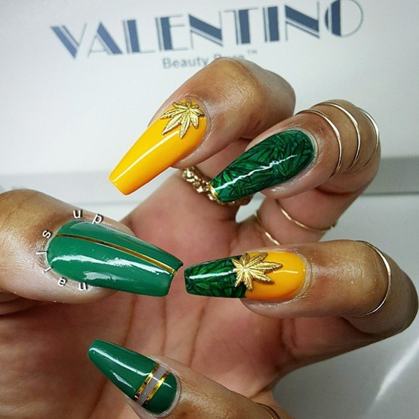 Nail accessories: weed, weed nails, leaves, leaf charm, nail charm ...