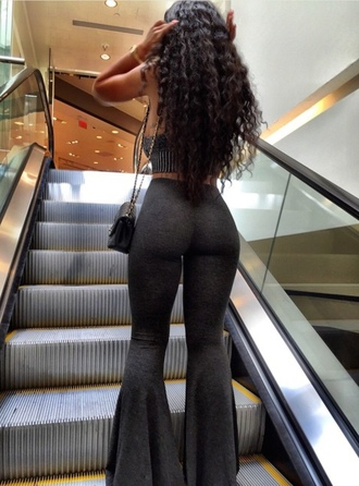 pants grey pants flare pants grey top cute outfits tube top tumblr india love bell bottom pant india westbrooks