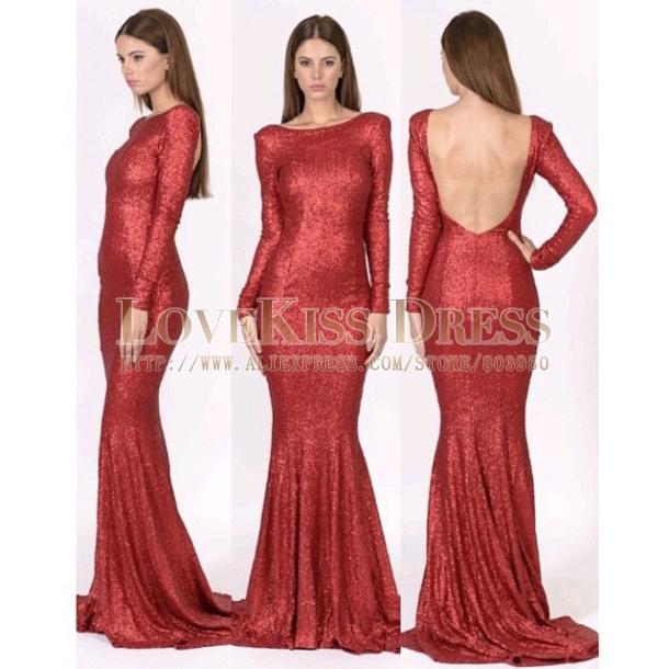 Aliexpresscom Buy Long Sleeve Evening Dresses Burgundy Sequins