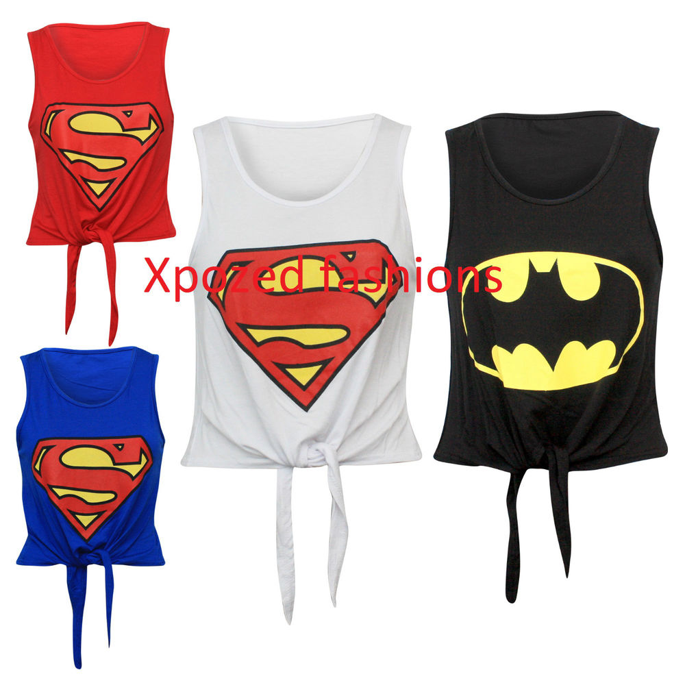 H10C Womens Ladies Sleeveless Superman Printed Tie Knot Crop Top T-Shirt Vest | eBay