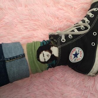 socks converse it girl shop mona lisa high top converse chuck taylor all stars all star denim hipster green art painting black cool davinci