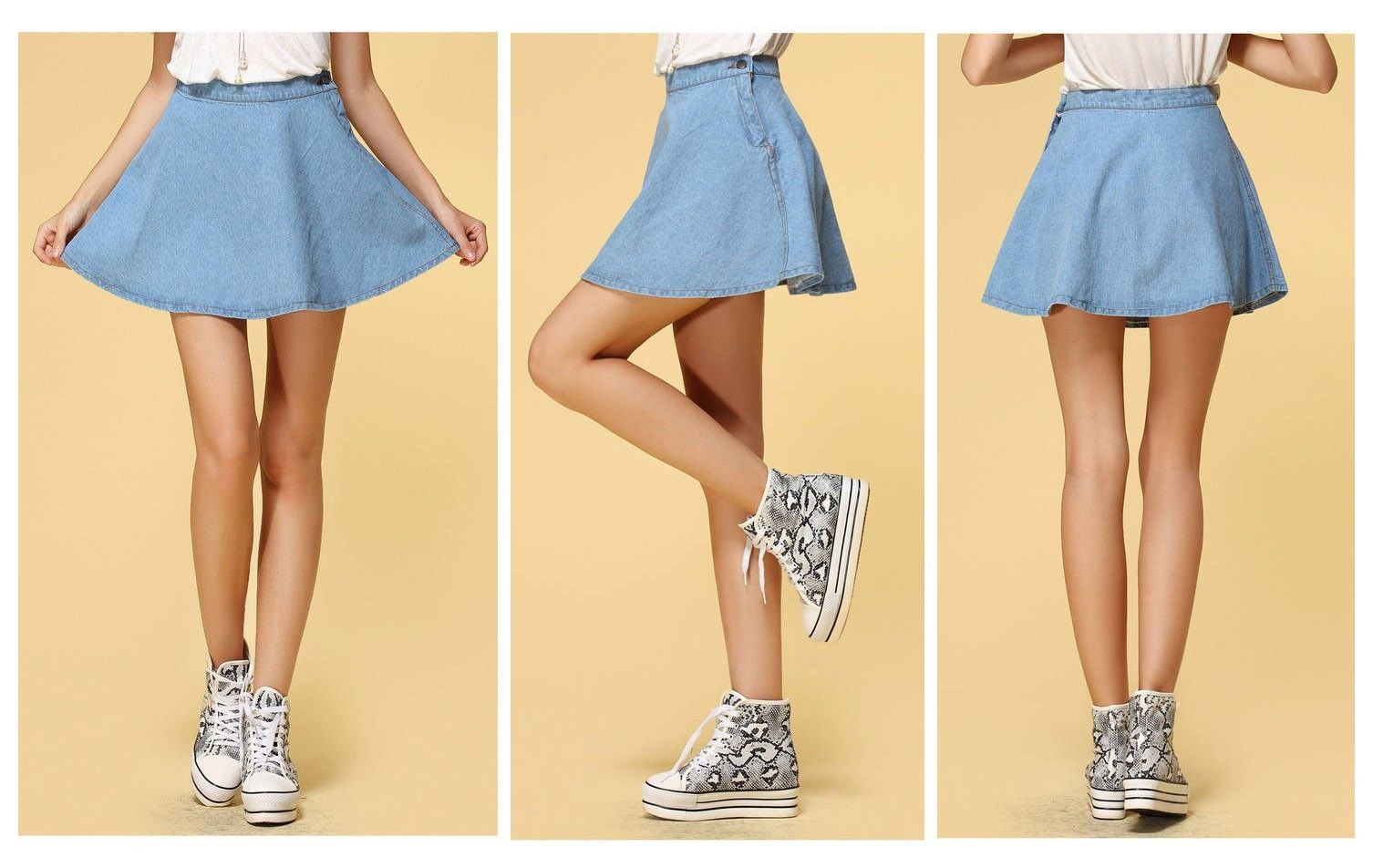 Flared denim skirt · summah breeeze · online store powered by storenvy