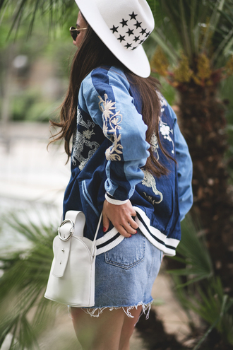 jacket tumblr embroidered embroidered jacket blue jacket bomber jacket bag white bag hat white hat skirt denim buckle bag mini skirt stars