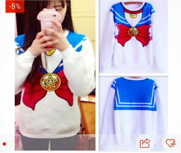 sweater sailor moon sailor moon sailor moon cute cute top cute sweater cute shirt top shirt