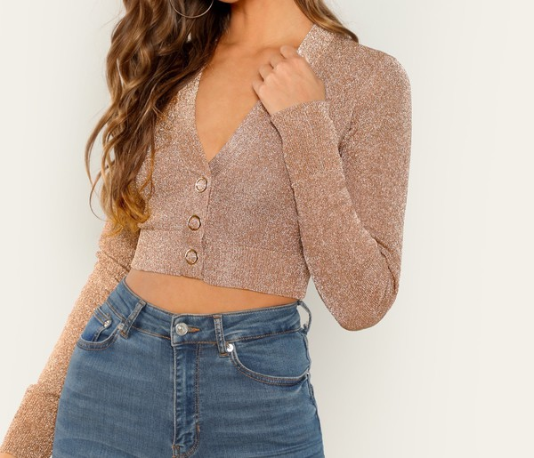 blouse girly girl girly wishlist crop tops cropped crop button up long sleeves sparkle rose gold