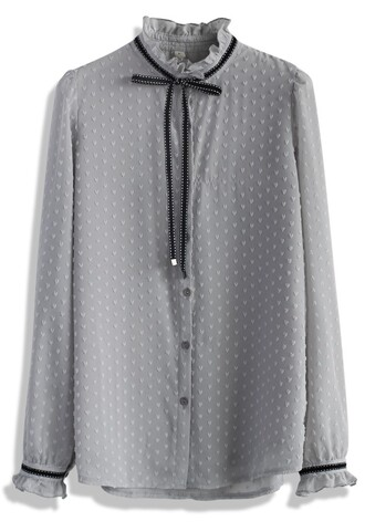 shirt bowknot flocked chiffon top in grey chicwish grey chiffon bow