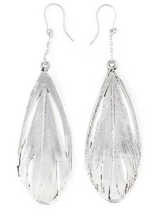 earrings feather earrings metallic jewels