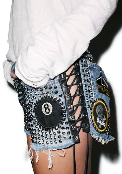 shorts leather denim patch diy embellished denim patched denim denim shorts studded shorts top white top