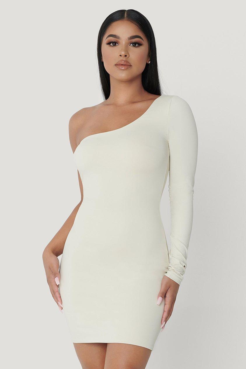 Mya One Shoulder Dress - Sand