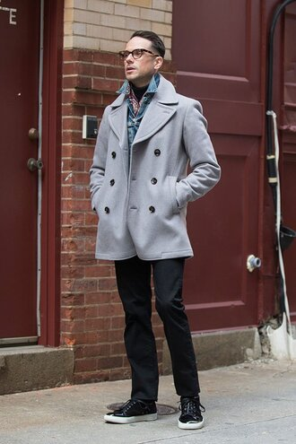 he spoke style blogger mens coat grey coat mens pants coat jacket jeans scarf jewels shoes mens printed scarf warby parker